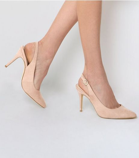 Light Pink Suedette Sling Back Pointed Heels | New Look