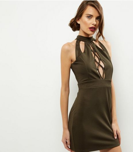 Cameo Rose Khaki Lattice Front Funnel Neck Dress | New Look