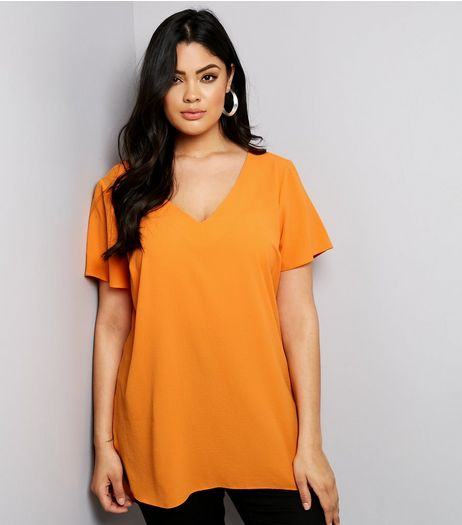 Curves Orange Lattice Back Tunic | New Look