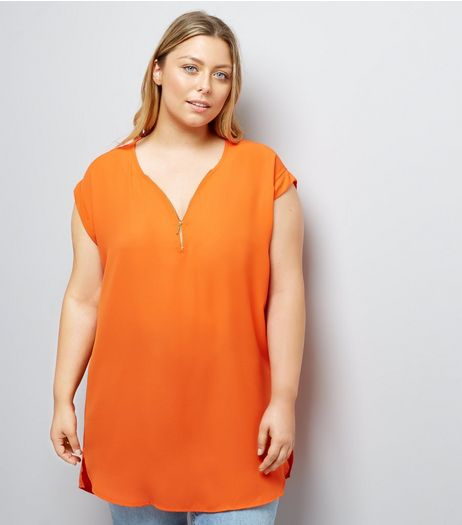 Curves Bright Orange Zip Front Tunic | New Look