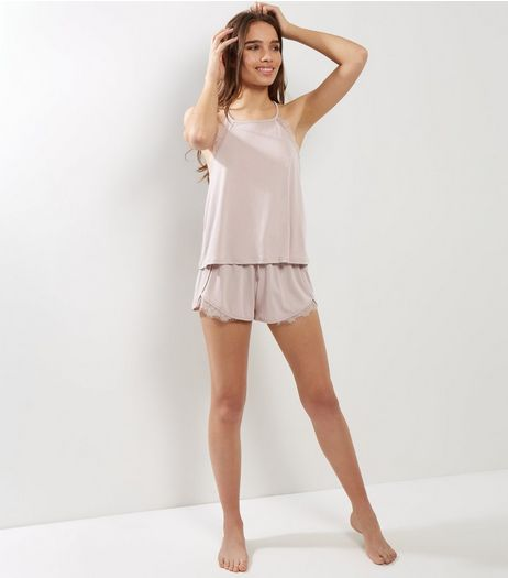 Shell Pink Tie Back Lace Trim Pyjama Set | New Look