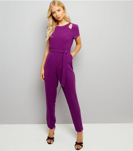 Purple Cut Out Shoulder Jumpsuit | New Look