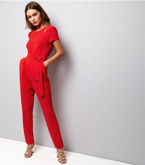 Red Cut Out Shoulder Jumpsuit | New Look