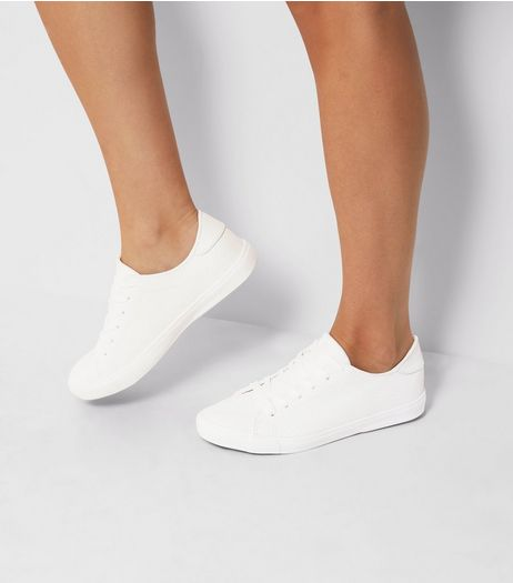 White Snakeskin Texture Trainers | New Look
