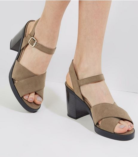 Khaki Comfort Suedette Cross Strap Heels | New Look