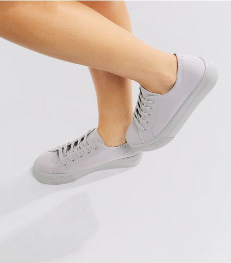 Grey Lace Up Platform Trainers | New Look