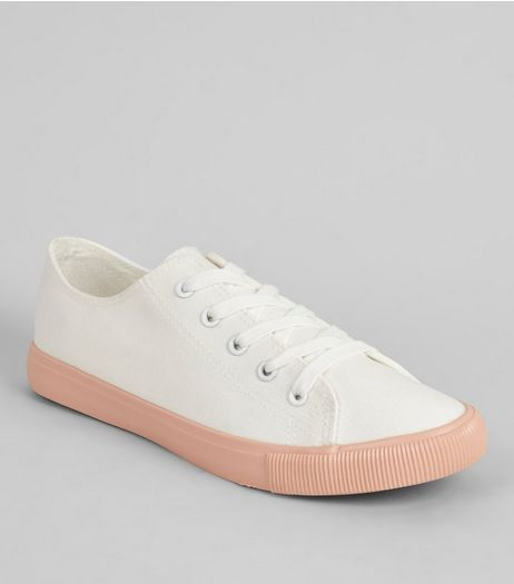 Pink Contrast Sole Lace Up Trainers | New Look