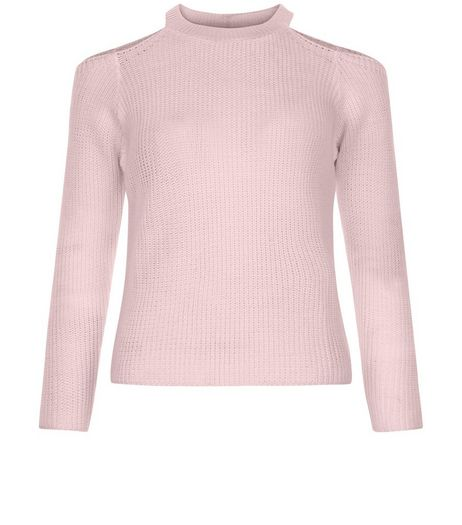 Teens Shell Pink Ribbed Cold Shoulder Jumper | New Look