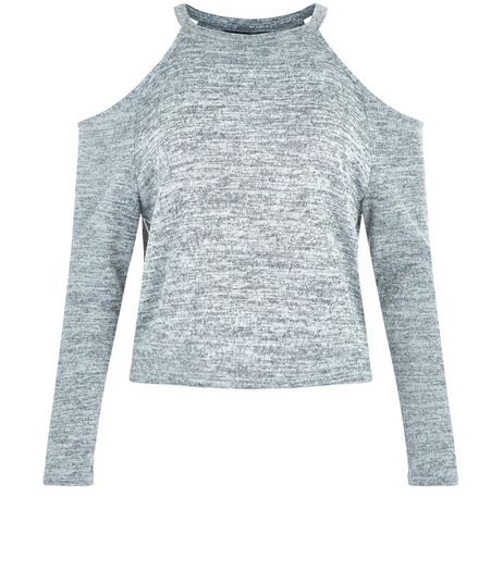 Teens Grey Brushed Cold Shoulder Top | New Look