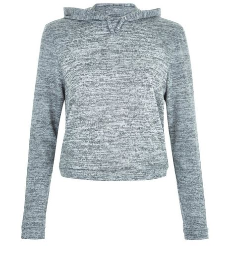 Teens Grey Brushed Fine Knit Hoodie | New Look