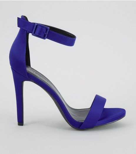 Blue Sateen Buckle Side Heeled Sandals | New Look