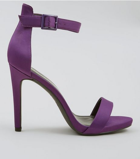 Purple Sateen Buckle Side Heeled Sandals | New Look