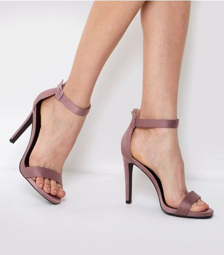 Pink Sateen Buckle Side Heeled Sandals | New Look