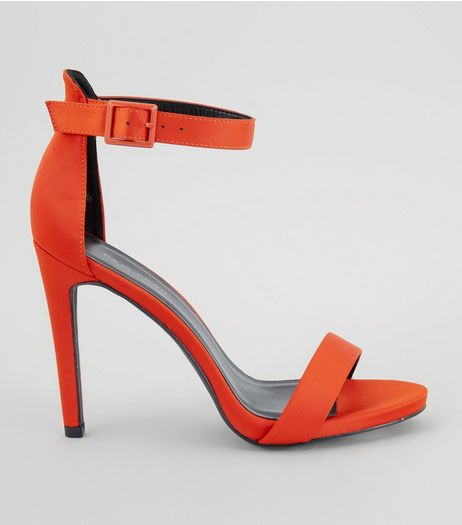 Orange Sateen Buckle Strap Heeled Sandals | New Look