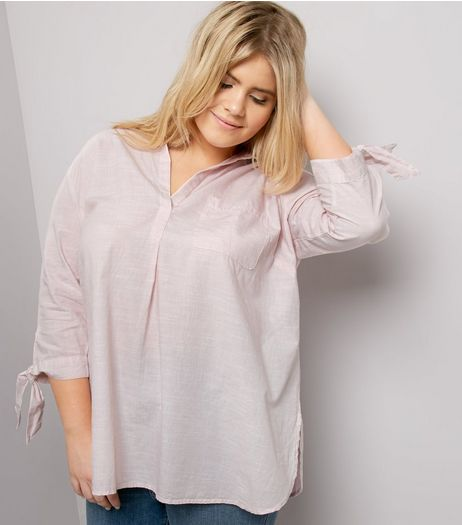 Curves Shell Pink Tie Sleeve Shirt | New Look