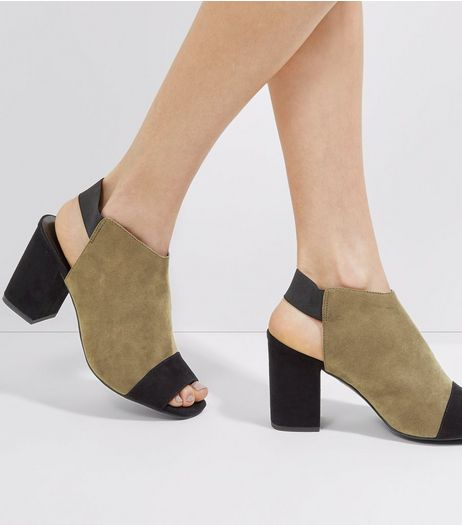 Khaki Contrast Front Sling Back Heels | New Look