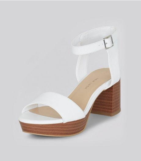 Teens White Contrast Platform Heels | New Look