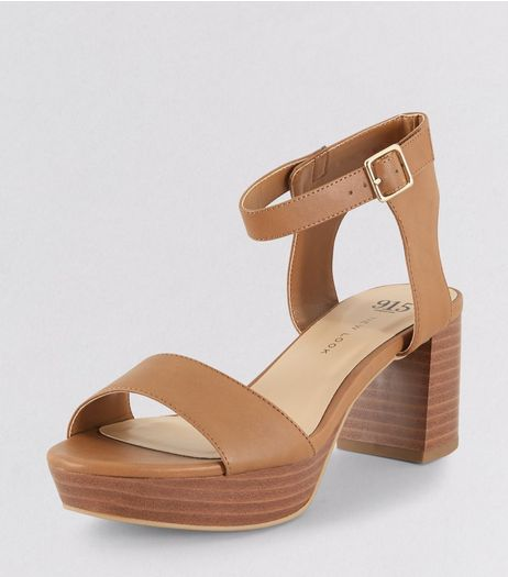 Teens Tan Black Contrast Sole Heels | New Look