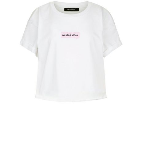 White No Bad Vibes Cropped Cotton T-shirt | New Look
