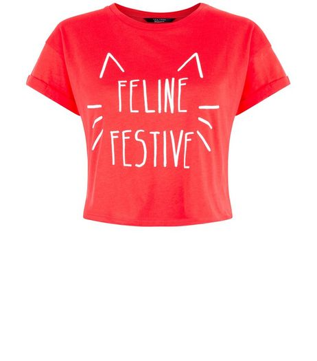 Teens Red Feline Festive Cropped T-Shirt | New Look