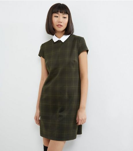 Khaki Check Contrast Collar Shift Dress | New Look