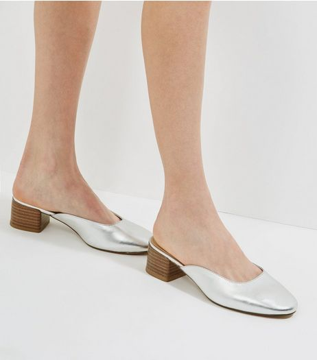 Silver Metallic Mini Block Heeled Mules | New Look