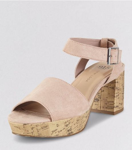 Teens Pink Suedette Cork Heels | New Look