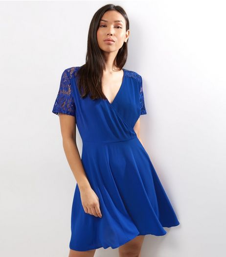 Blue Lace Panel V Neck Wrap Front Dress | New Look