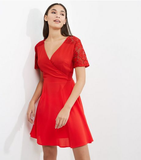 Red Lace Panel V Neck Wrap Dress | New Look