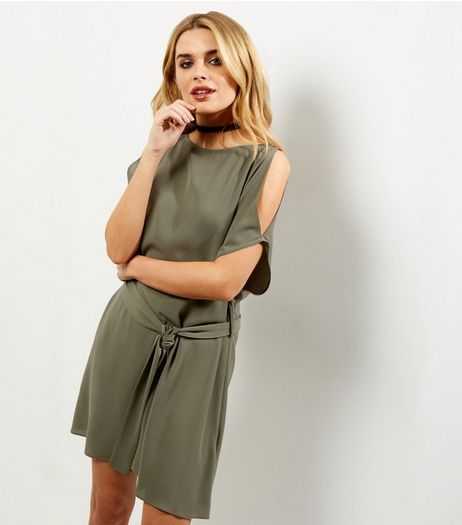 Khaki Cold Shoulder Belted Tunic Dress | New Look