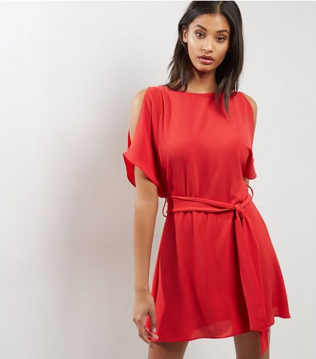 Red Cold Shoulder Belted Tunic  | New Look