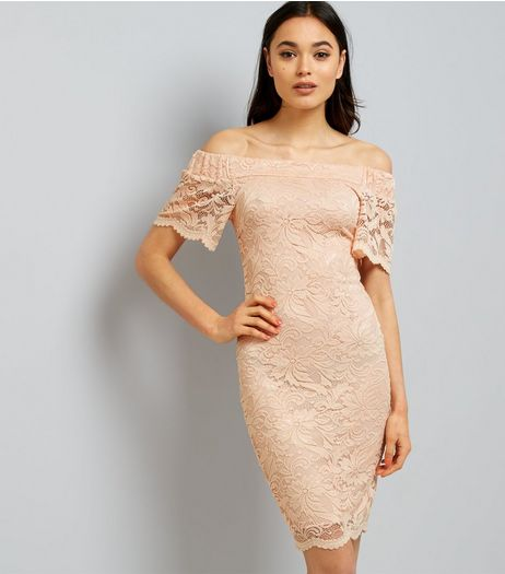 Shell Pink Lace Bardot Neck Bodycon Dress  | New Look