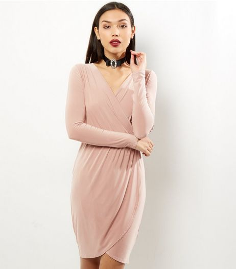 Shell Pink Wrap Front Dress | New Look