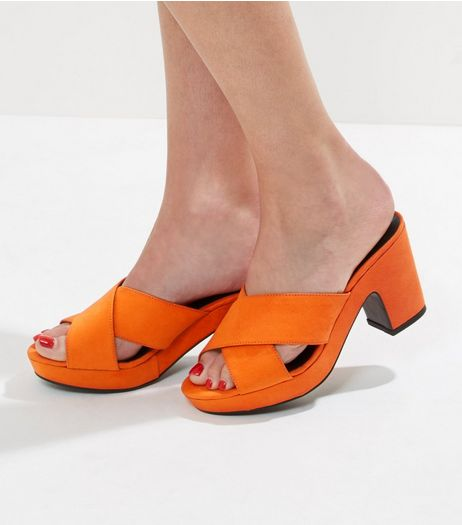 Wide Fit Orange Cross Front Platform Mules | New Look