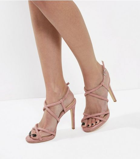 Pink Suedette Tube Strap Heeled Sandals | New Look