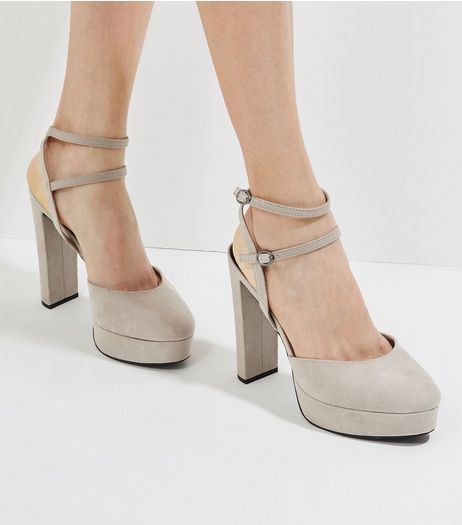Grey Suedette Double Ankle Strap Platform Heels | New Look