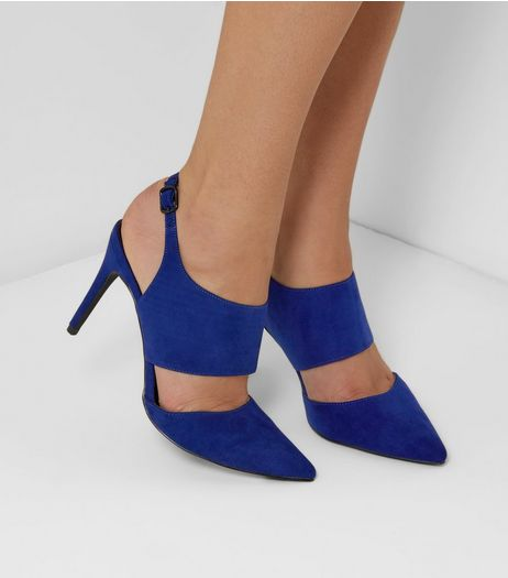 Blue Suedette Wide Strap Pointed Heels | New Look