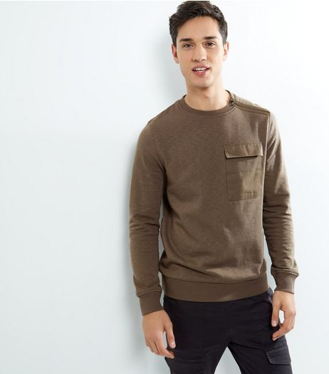 Brown Pocket Front Zip Shoulder Sweater | New Look