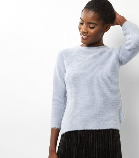 Blue Vanilla Blue Fluffy Ribbed Jumper | New Look