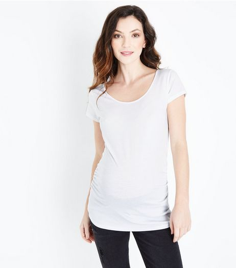 Maternity White Scoop Neck T-shirt | New Look