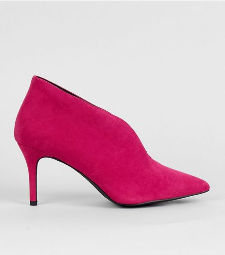 Pink Suedette V Throat Toe Pointed Heels | New Look