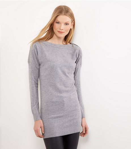 Blue Vanilla Grey Zip Trim Jumper Dress | New Look