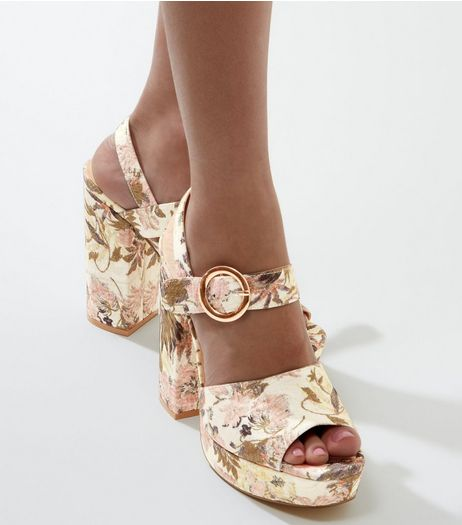 Light Pink Floral Print Buckle Strap Platform Heels | New Look