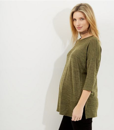 Maternity Khaki Cut Out Shoulder Fine Knit Longline Top | New Look