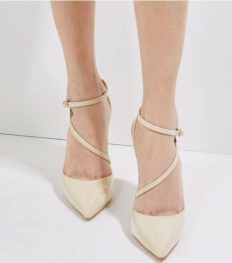 Cream Patent Asymmetric Strap Pointed Heels | New Look