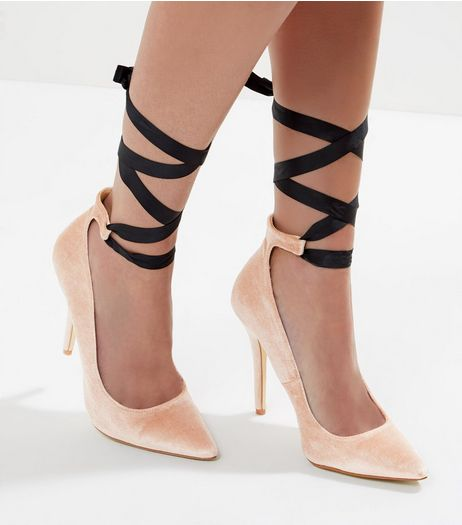 Pink Velvet Contrast Tie Up Pointed Court Shoes | New Look