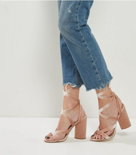 Pink Velvet Tie Up Heels | New Look