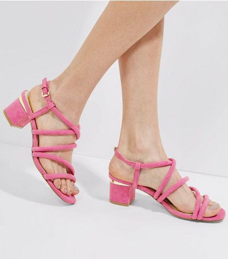 Bright Pink Suedette Tube Strap Sandals | New Look