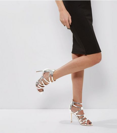 Silver Metallic Strappy Heeled Sandals | New Look