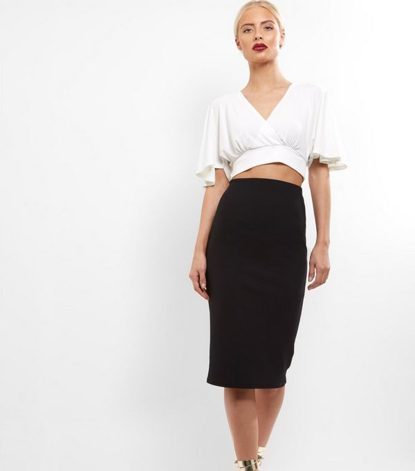 Black Crepe Scuba Midi Pencil Skirt